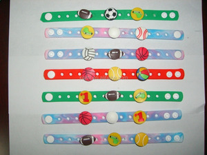 high quality nature material colorful holey cute animal mode charms silicone wristband bracelet