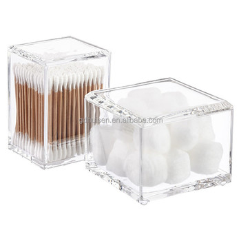 Hotel Bathroom Clear Acrylic Plastic Cosmetic Cotton Ball Container