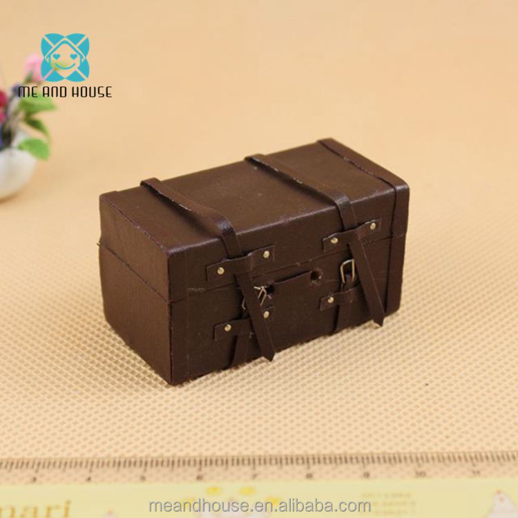 1:12 Doll House Miniature Vintage traditional brown mini Luggage Leather suitcase