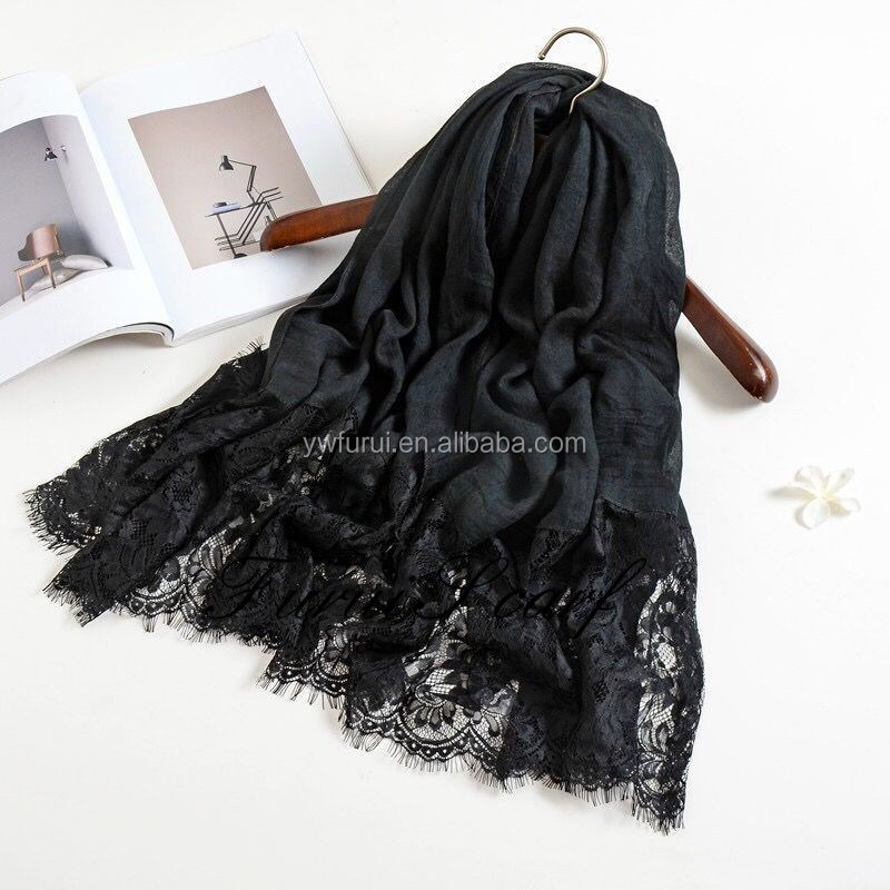 Factory Sale High Qulity Cotton Viscose Lace Hijab Pure Color Spring Winter Muffler Muslim Scarf Long Shawls Wraps