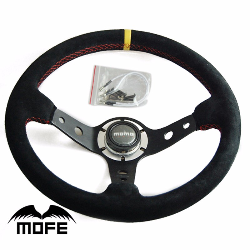 Universal Car Auto Racing Steering Wheel Suede Leather + Aluminum Frame Black