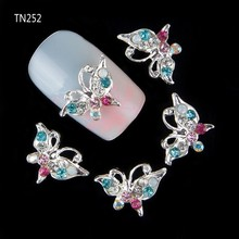 10pcs Glitter Butterfly Rhinestones 3d Nail Art Decorations Alloy Nail Sticker Charms Jewelry for Nail Gel