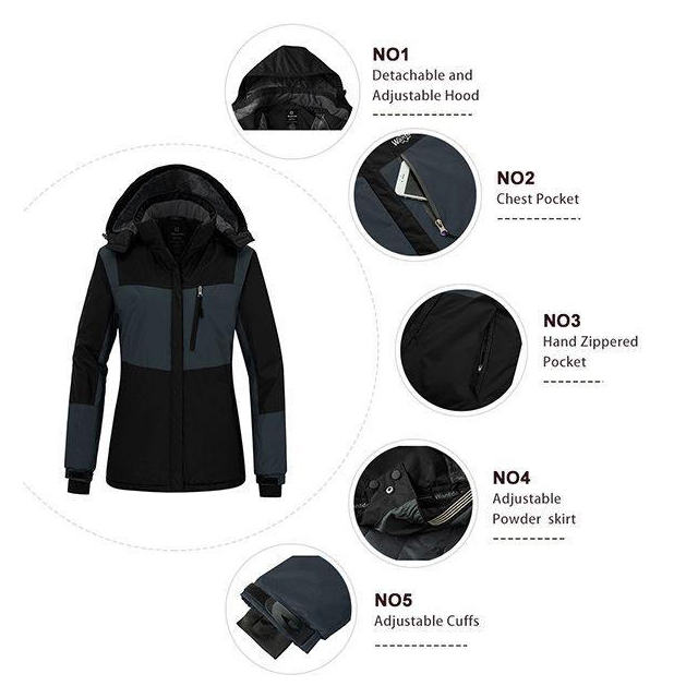 Women's Waterproof Fleece Parka Windproof Ski Jacket Hooded Winter Raincoat Mountaineering Windbreaker