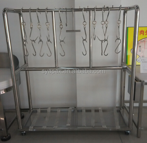 APEX supermarket butcher stainless steel trolley meat hanging rack/meat hanger/meat hanging equipment