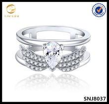 Micro pave diamonds two angel wings ring teardrop cz wedding bands wholesale