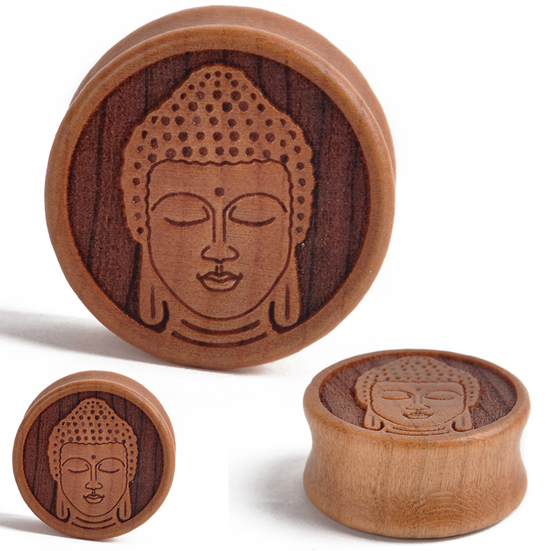 1Pair 10-28mm Wood Meditating Buddha Double Flared Saddle Ear Plugs Tunnel  Gauges Piercing for Fashion Body Jewelry