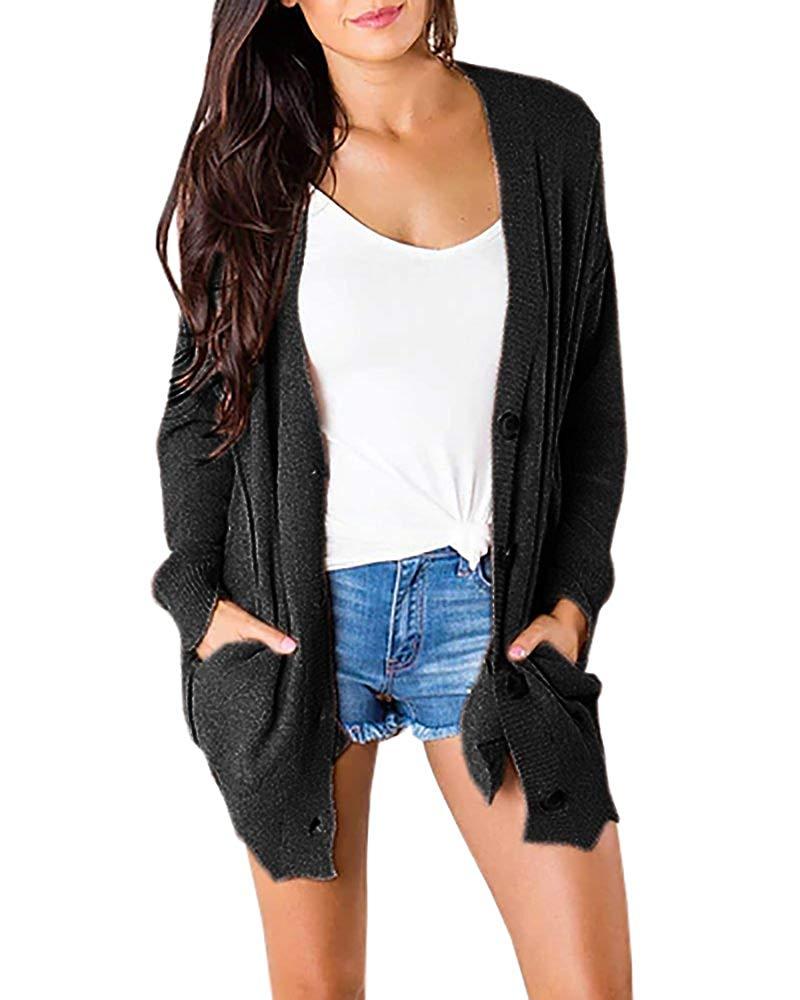Tutorutor Womens Cardigan Sweaters Buttons Fall Oversized Pockets Loose Cozy Knit Sweater