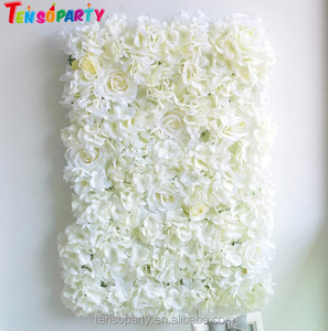 Wholesale cheap artificial flower wall wedding backdrop with ivory hydrangea flower