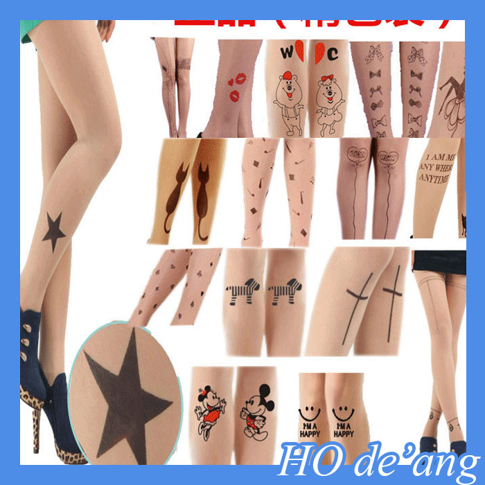 HOGIFT 3D Custom tattoo Flesh-colored Silk sock ,invisible printing slim bottoming stockings ,Seamless pantyhose