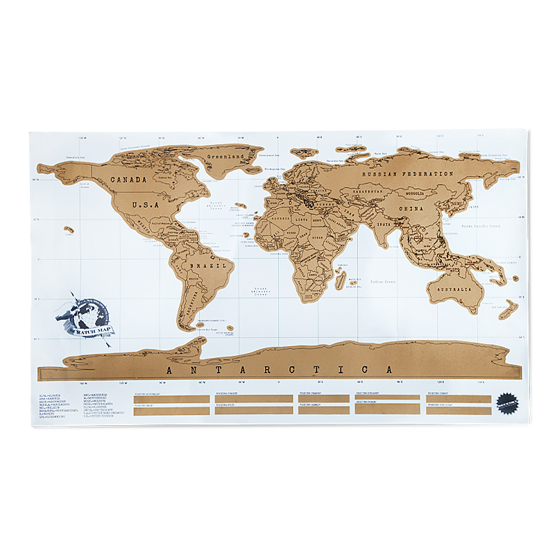 Bianco Carta Patinata Materiale Scratch Mappa E 82.5*59.4 cm Formato Scratch Off Mappa Del Mondo