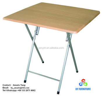 Wooden Dining Folding Metal Snack Tray Table For Small Spaces