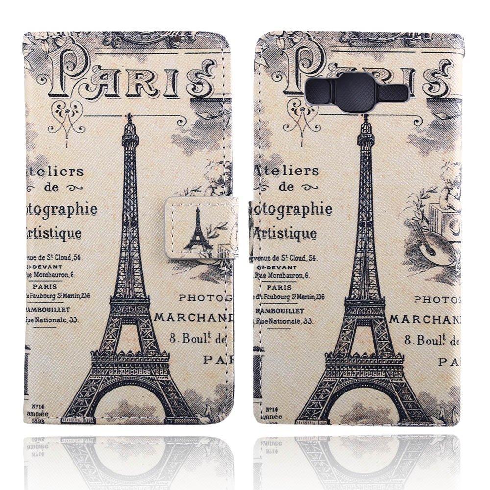 TOMYOU Samsung Galaxy G530h Case, Samsung Galaxy G5306w Flip Leather Cover Case, Stand, Card Holder and Wallet Phone Case Cover for Samsung Galaxy Grand Prime G5306w G530h G530f (Paris Tower)