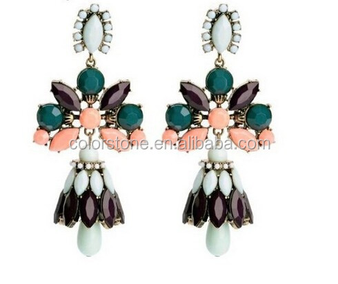 New brand crew green pink fashion flower brand long big dangle earrings for women 2014
