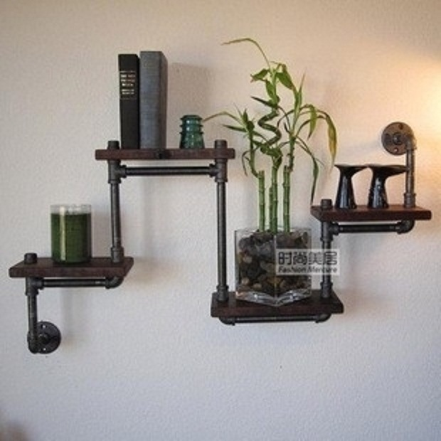 Loft American Country Style Wrought Iron Wall Mount Shelf