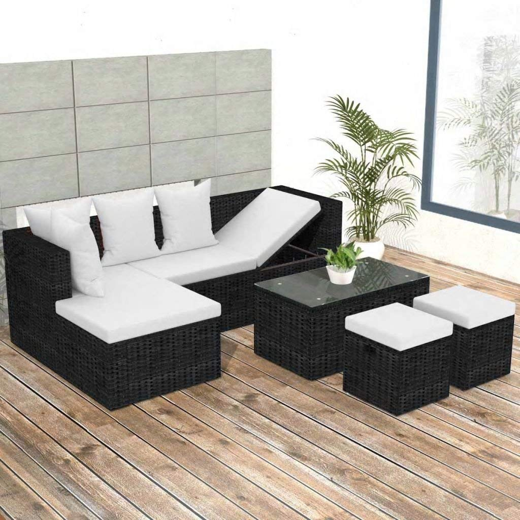 Get Quotations · 12 Pieces Garden Lounge Set Black Poly Rattan Sectional  Sofa Made Of Weather Resistant And