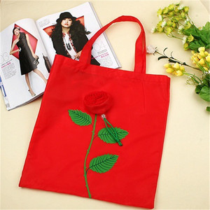 Promotional creation cartoon rose polyester foldable shopping bag