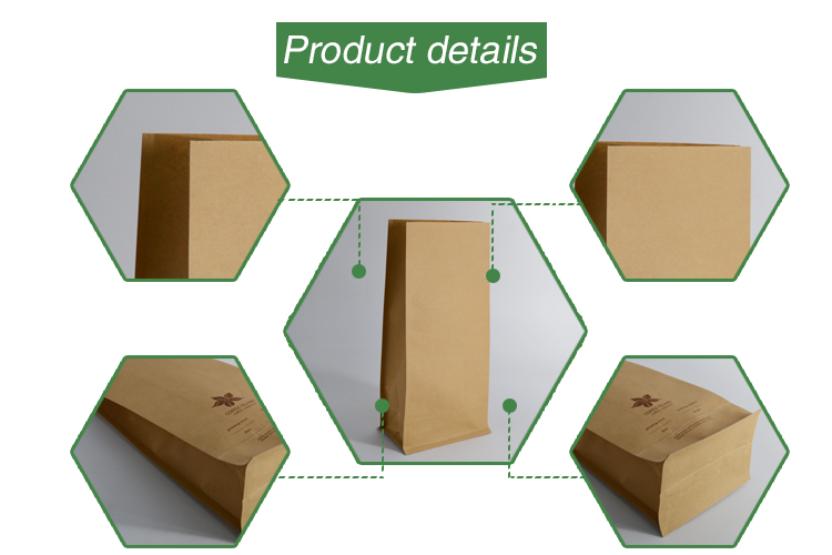 Wholesale 8 Side Sealed Flat Bottom White Kraft Paper Bag Packaging for Coffee