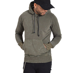 Mens Gymwear Acid Wash Soft Solid Color Hoodie With OEM Logo