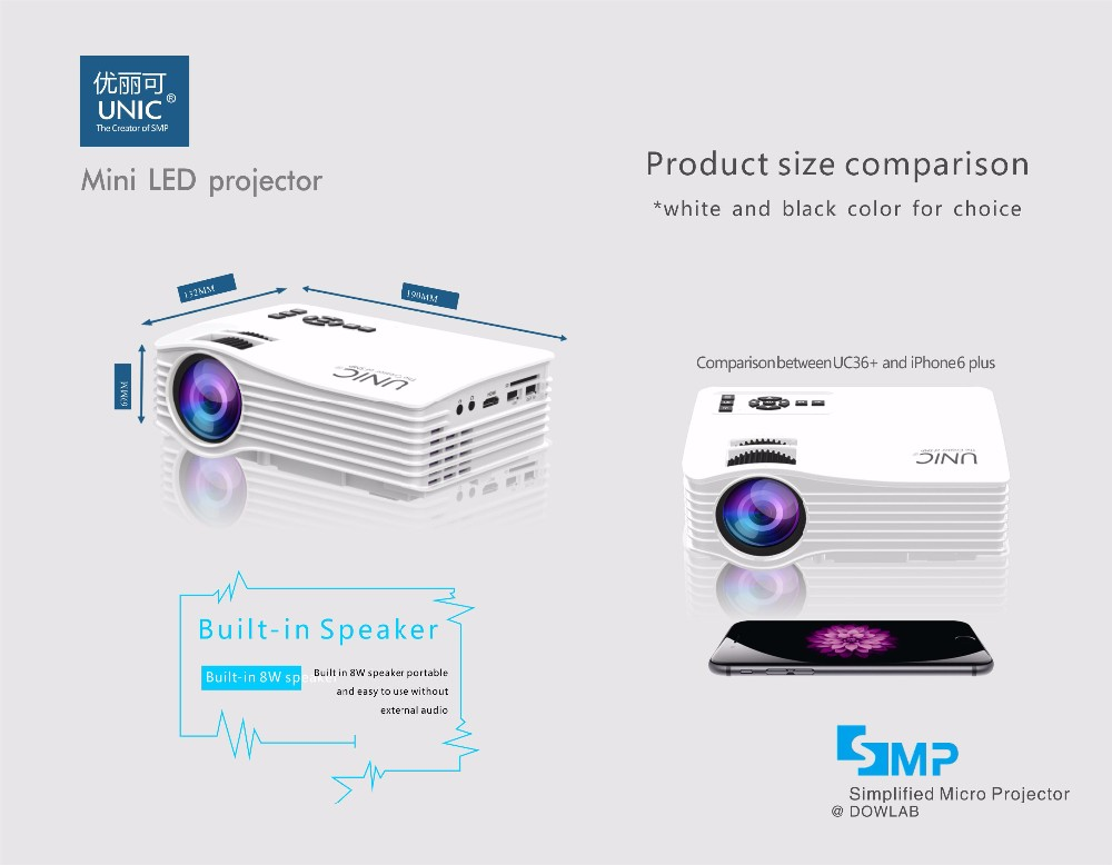 UNIC 2017 New wireless connection led projector ,wifi professional cinema projector UC36+