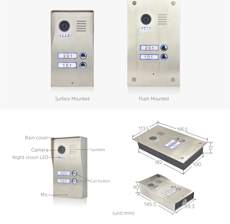 Apartments nameplate doorbell door calling bell with stainless steel outdoor station video intercom systems and with rain cover
