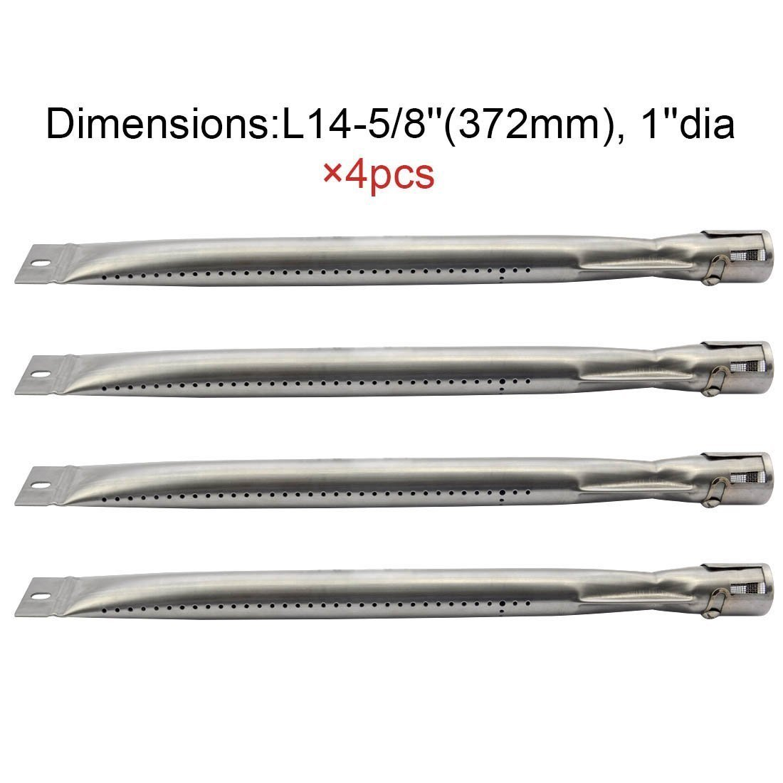 BBQ Energy Grill Burners 14251 (4-pack) Universal Straight Stainless Steel Pipe Burner for BBQ Tek, Bond, Brinkmann Part, Grill King Part, Master Cook, Presidents Choice, Lowes Model Grills
