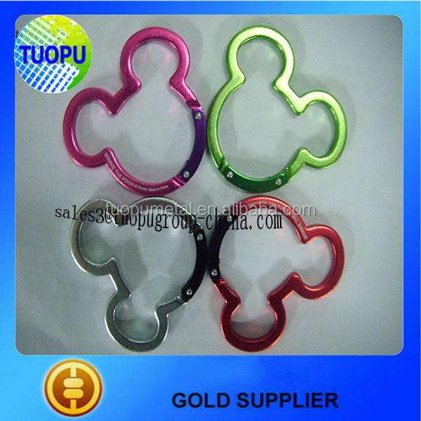 China supplier mickey shaped carabiner for sale, mickey aluminum snap hook
