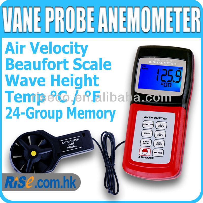 Digital Air Flow C F Velocity Beaufort Scale Wind Speed Meter Anemometer