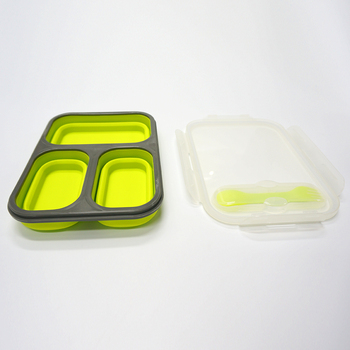 Custom Square Silicone Collapsible Bento Lunch Box