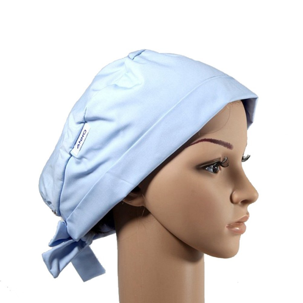 Outsport Surgical Ponytail Bouffant Hat Scrub Caps for Women Aqua