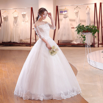 2018 Half Sleeves Off The Shoulder Bridal Dresses Off White Boat