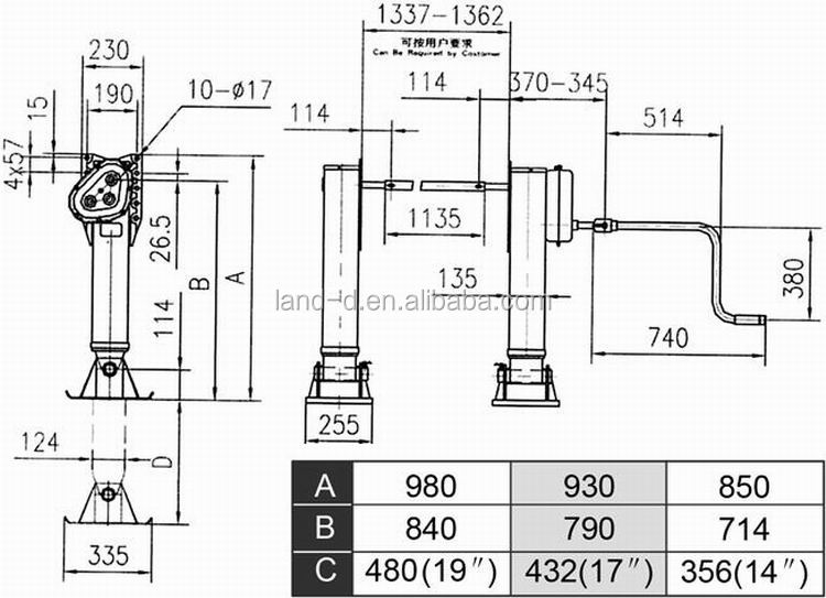 truck landing gear jack drop gearbox inboard two handles lift system 19 inches weld 35t leg for