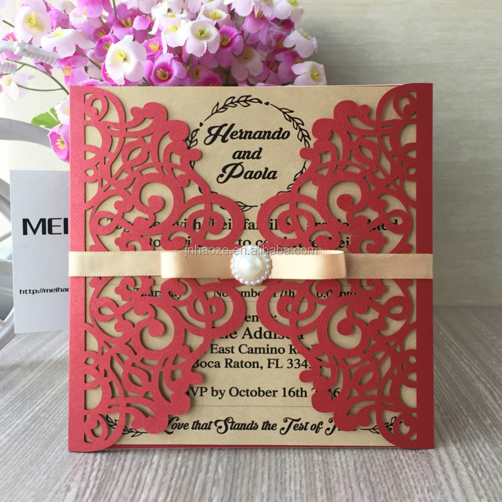 2017 New Fancy Laser Cut Wedding Invitation Card With Bead And ...