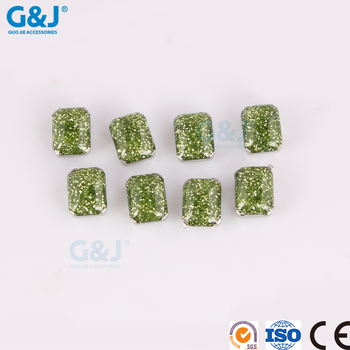 guojie brand yiwu Factory rhinestone Grass green chaton Jewelry Making crystal zirconia stone