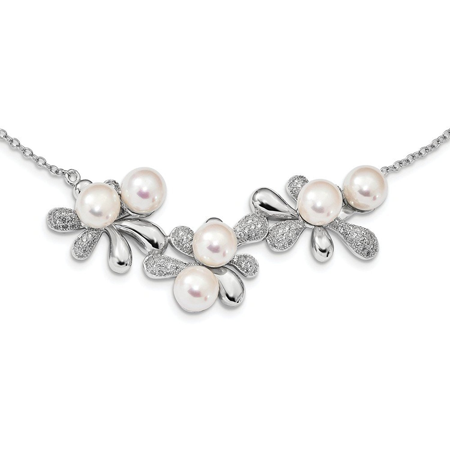 Jewelry Necklaces Pearls Sterling Silver Rhodium Bead and 7-8mm White FWC Pearl Dangle Neck