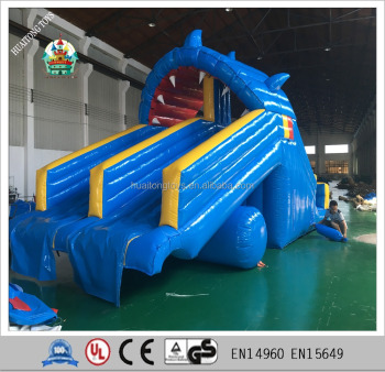 steep inflatable pool slide kids small pvc tarpoulin shark water slide for swimming pool - Inflatable Pool Slide