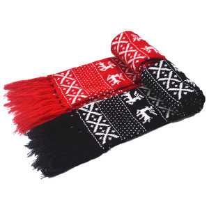 KR055 Custom soft acrylic christmas scarf for couple