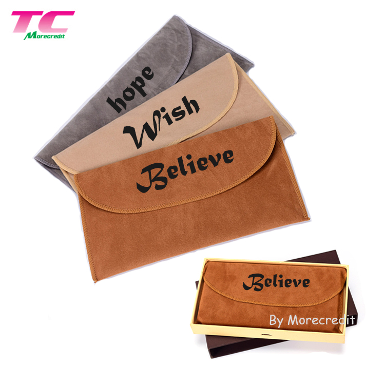 Luxury Custom Printed Velveteen Pouches Soft Flap Jewellery Bag Pouch for Necklace Watch