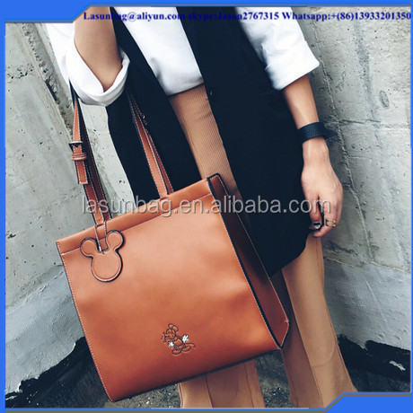 Cheap Cute Girls big size Trendy women Leisure tote bag fashionable women leather tote bag for lady