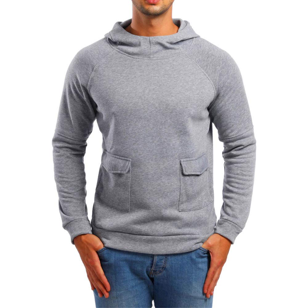 c517c44c Get Quotations · Zulmaliu Mens Hoodie Solid Long Sleeve Sport Sweatshirts  Shirt Blouse Outwear Outwear Tops with Pocket