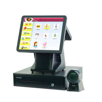 POS1520 Double Touch Screen POS Machine Restaurant Supermarket POS Built In Pos Printer RFID Barcode Scanner
