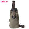 Promotion satchel cheap chest back pack wholesale canvas genuine leather travel cross body chest pack for gifts