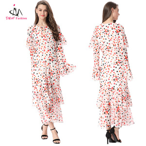 2017 New Style Vintage Retro Colorful Dot Print Maxi Dress Layered Beach Casual Summer Batik Chiffon Long Dress for Women