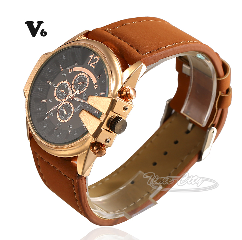 News 2015 Women's Quartz Wrist watches V6 Hours Sports Casual Fashion Luxury Hot Gift Leather Strap Clock Ladies Dress Watches
