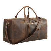 Overnight Full Grain Leather Gym Duffel Bag, Crazy horse leather Travel Duffle Weekender Bag