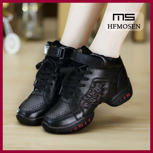 TS8033 children dancing shoes dance sneakers leather sole dancing shoes fitness step shoes