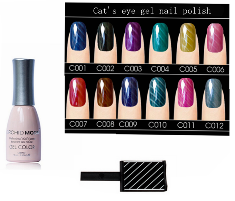 ORCHID MOON high quality soak off UV/LED 3d cat eye gel polish + magnet - various choice of colors