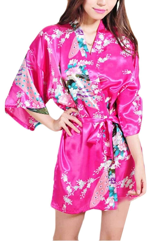 56cccf3ef1 Get Quotations · WSPLYSPJY Women s Satin Short Kimono Robe Bathrobe  Sleepwear Bathrobe with Belt