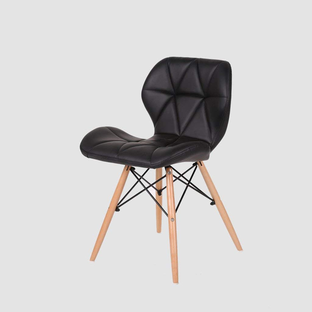 Bar Stool, PU Leather Backrest Office Stool, Kitchen Breakfast Stool, (H45cm W49cm 37cm),Black