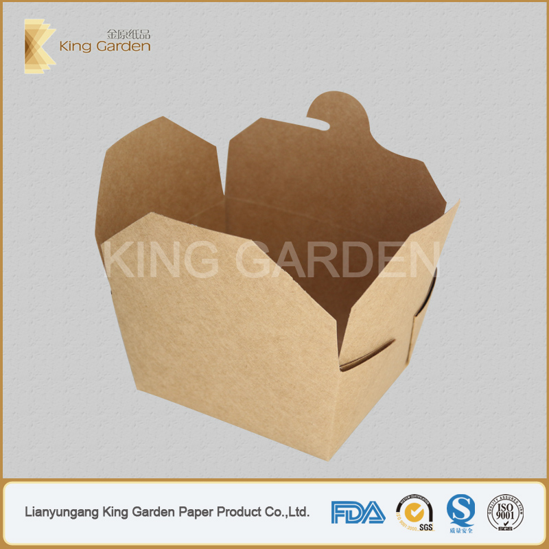 Disposable folding kraft paper lunch food box