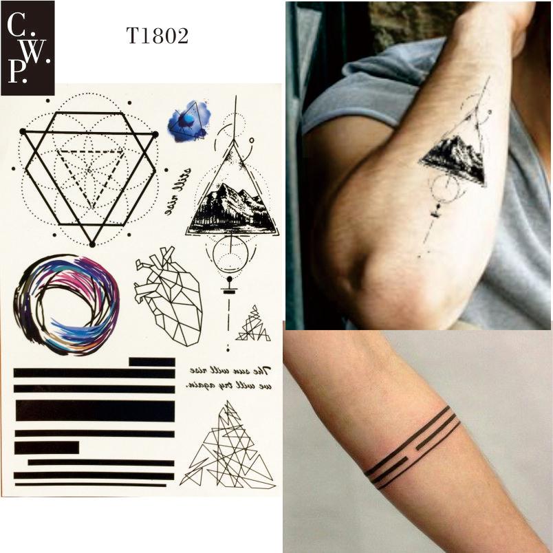 Tymczasowe Tatuaże Linia Geometryczna Trójkąt Serce Góry